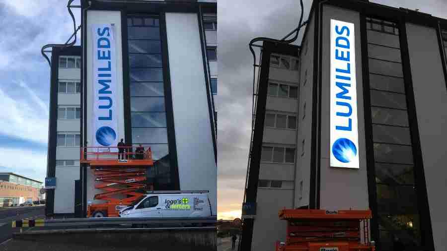 12 meter lichtreclame bij Lumileds in Aken (Duitsland)